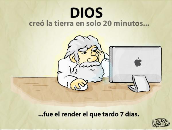 Dios creo el mundo en s lo 20 minutos fue el render el for En 7 dias dios creo el mundo